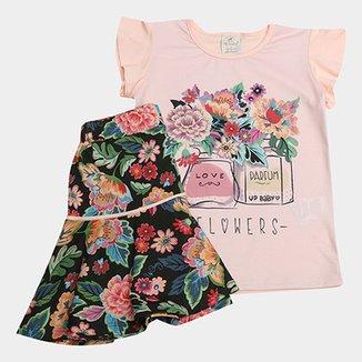 9d1bfa7945 Conjunto de Blusa + Saia Floral Up Baby Feminina