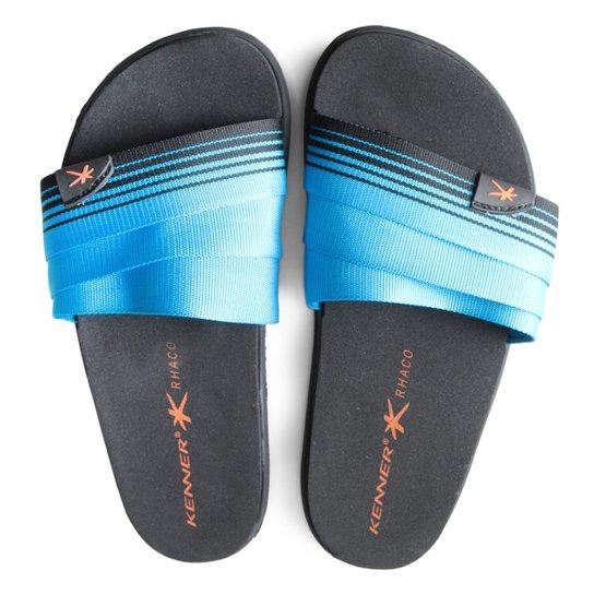 5acf3fb72e922b Slide Kenner Rhaco S-On Hold Stripes Masculino - Preto e Azul