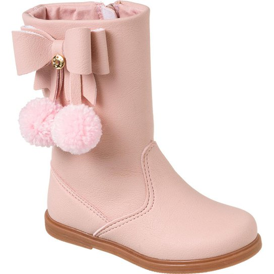 cdd98fccb40715 Bota Infantil Klin Miss Fashion Pompom Feminina - Rosa