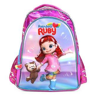 c587c3f41ca56 Mochila Escolar Infantil Pacific Estampa 3D Rainbow Ruby Verniz Feminina