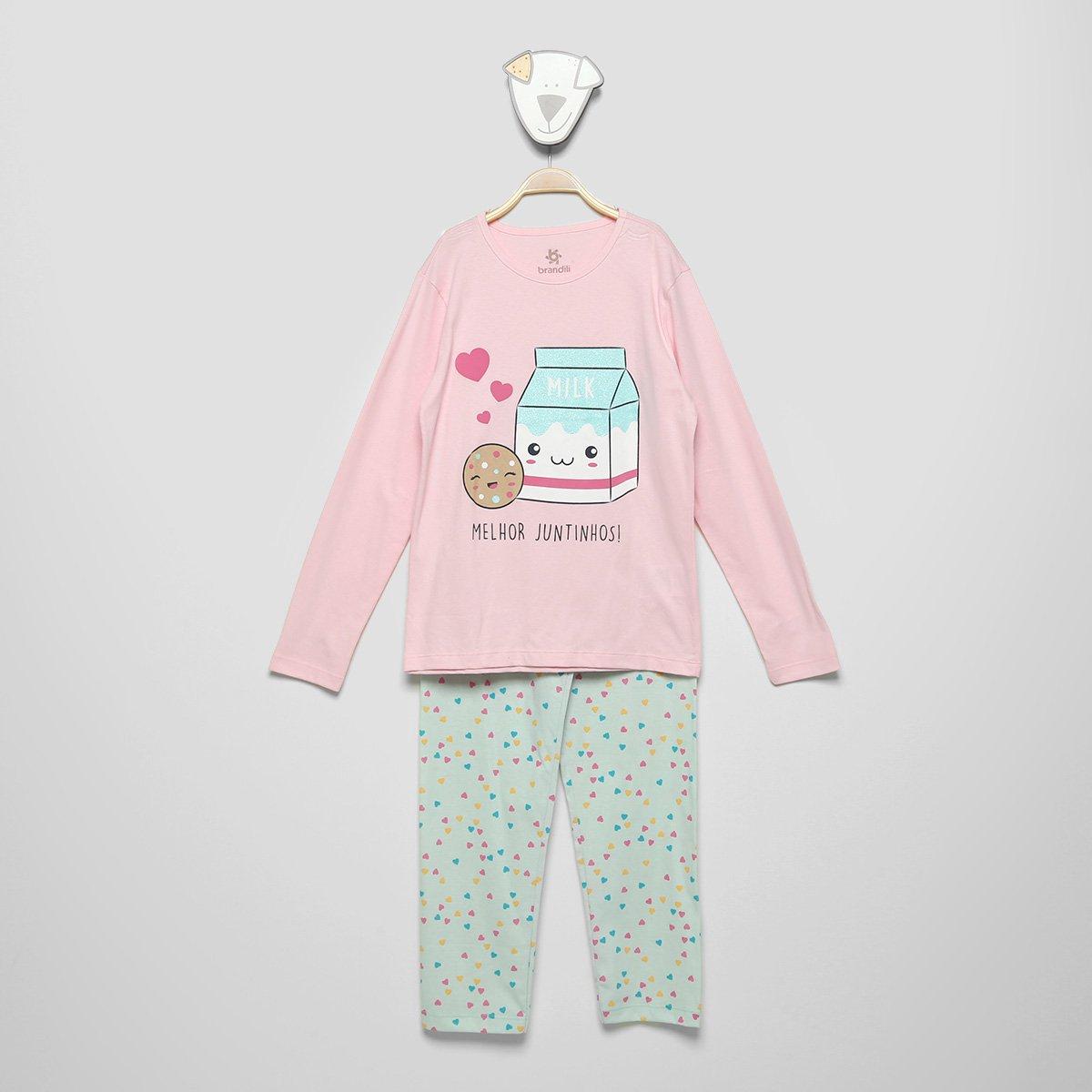 Pijama Infantil Brandili Estampado Longo Feminino