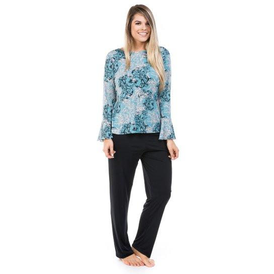 4d13f625e Pijama Longo de Liganete com Blusa Flare Dulmar - Preto+Azul