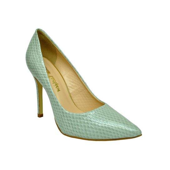 2cf277790 Scarpin em Couro Conceito Fashion Bico Fino Serpente - Verde água