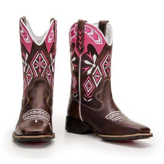 c7b91e26e891fb Bota Texana de Couro Legítimo Country Capelli Boots Feminina - Rosa