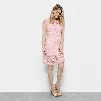 5c91cad7e Vestido Lily Fashion Evasê Curto Renda