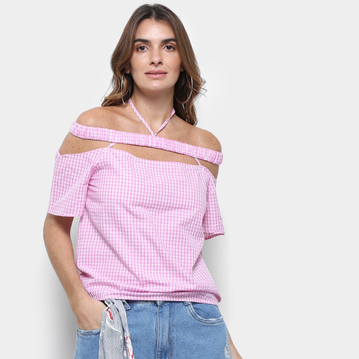 007111da76 Blusa Xadrez Lily Fashion Open Shoulder Amarração Feminina