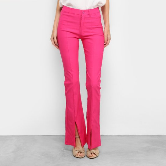 e1bb6206a318f4 Calça Flare Mixxon Bengaline Cintura Alta Feminina - Rosa