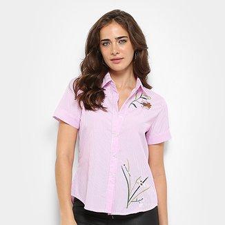 Camisa For Why Listrada Bordada Feminina 3b6d0ae61521a