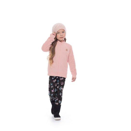 7832ecb9e5 Conjunto Jaqueta e Legging Infantil Hello Kitty Feminino - Rosa ...