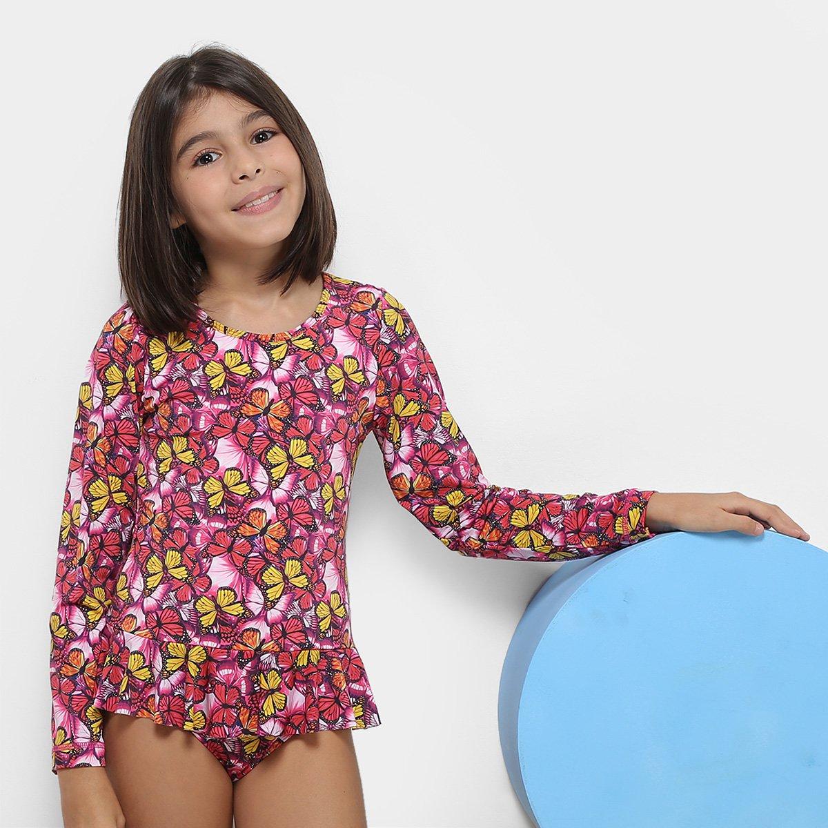 Maiô Body Infantil Tip Top Borborletas Feminino