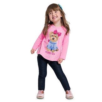 Blusa Infantil Kyly Manga Longa Estampa Cachorro Feminina 1800bdfb2b5
