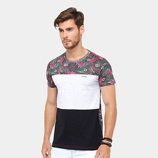 21fef0802 Camiseta Rock   Soda Recorte Floral Masculina
