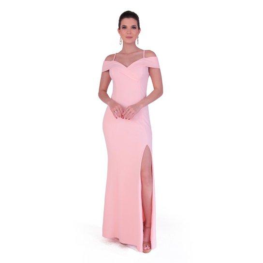 65fec7870753be Vestido Longo em crepe com elastano - Rosa