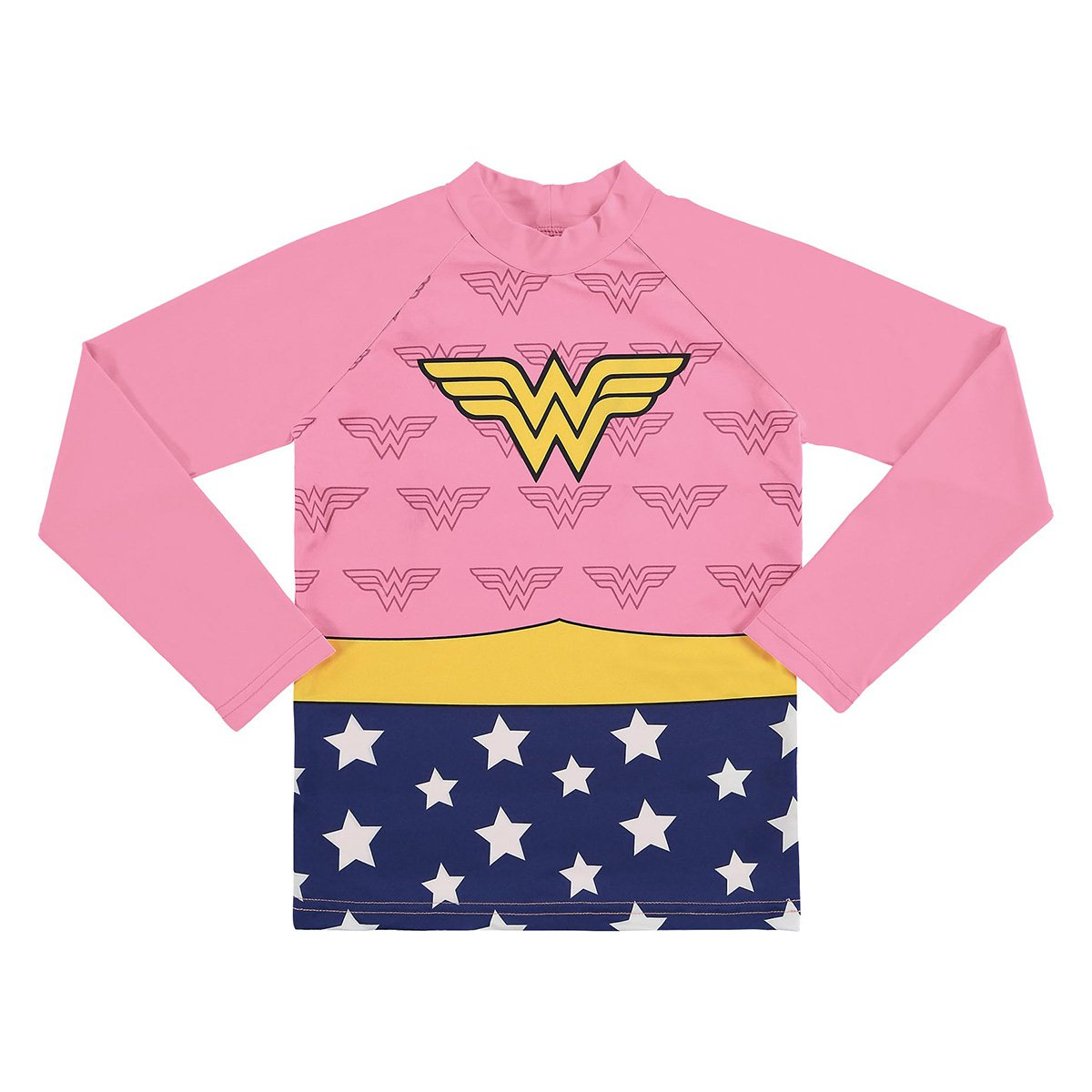 Camiseta Infantil Marlan Proteção UV Mulher Maravilha Manga Longa Feminina
