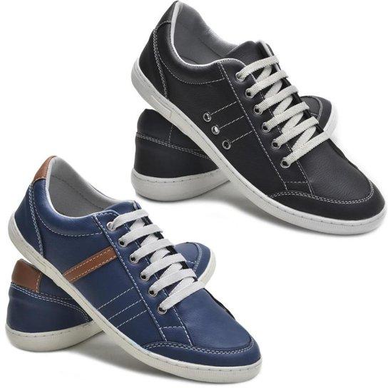 03259a61e9 Kit 2 Pares Sapatênis Dec Shoes Tênis Casual Masculino - Preto e ...