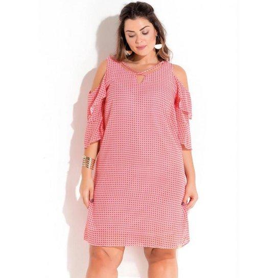 4600fc3a42 Vestido Plus Size em Chiffon Rosa Estampado Quintess - Rosa
