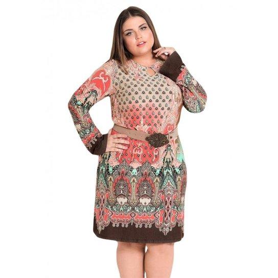 75c5ca3df4912d Vestido Plus Size Evasê Cashmere Quintess - Rosa