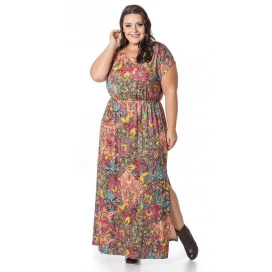 2989f8fd85ae7 Vestido Miss Masy Longo Estampado Rosa Plus Size - Rosa. Loading.