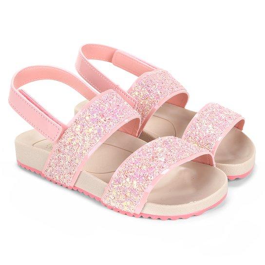 113e192a18 Sandália Infantil Pimpolho Glitter Velcro Feminino - Rosa - Compre ...