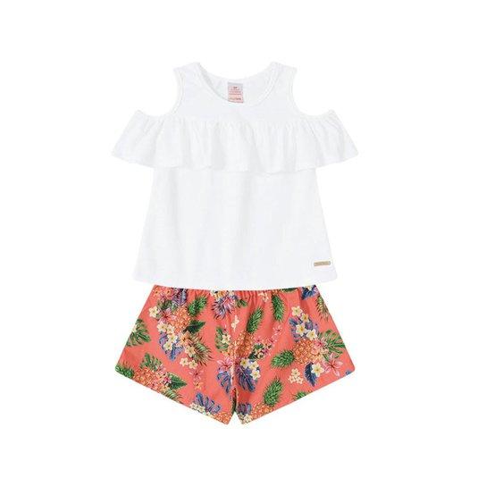 Conjunto Bebê Marisol Feminino - Branco e Laranja - Compre Agora ... 64daa5a4c3c