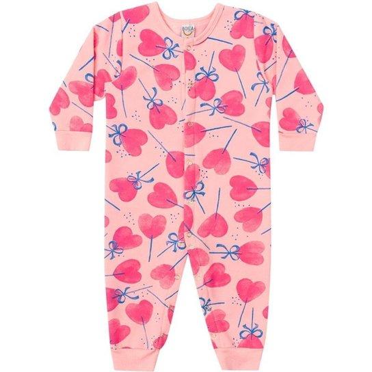 bb7e7359927a50 Macacão Pijama Infantil Boca Grande Moletom Felpado Estampado Feminino -  Rosa