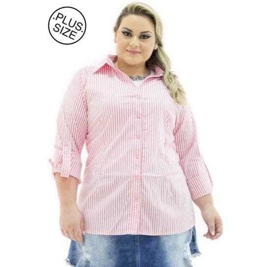 4ea54b2fd Camisa Tricoline Confidencial Extra Plus Size Listrada Feminina - Rosa