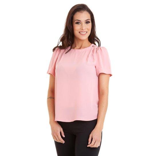 f111a4c852 Blusa Manguinha Kinara com Botões no Ombro Feminina - Rosa - Compre ...