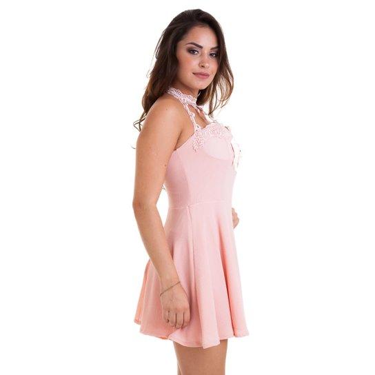 Vestido Gola Kinara Choker Tiras Zattini