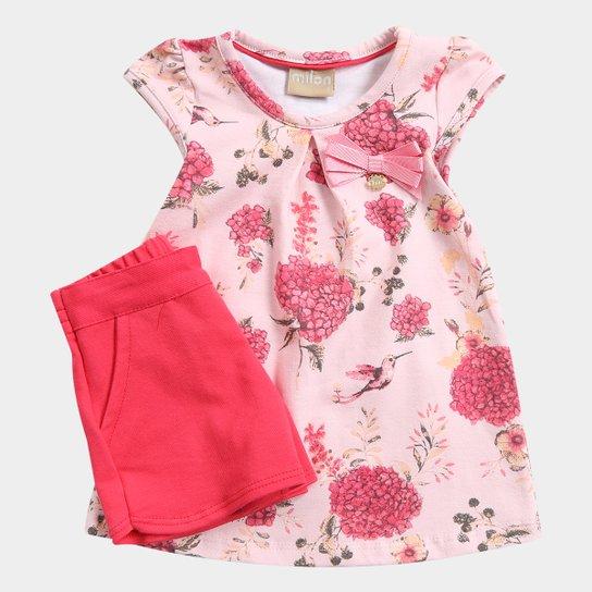 b24715b95413c Conjunto Infantil Milon Floral Lacinho Feminino - Compre Agora