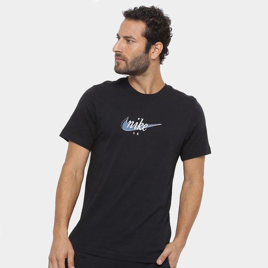 2c3f3853412e8 Camiseta Nike SB Futura Feminina - Preto e Azul - Compre Agora
