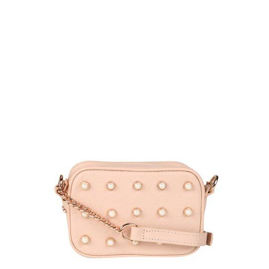Bolsa Couro Verofatto Mini Bag Transversal Com Pérolas Feminina - Rosa 8b7e24fb26cc5