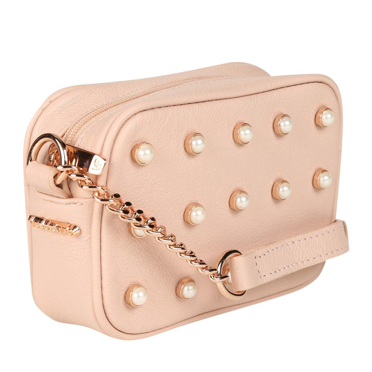 4ebdfb5f7 Bolsa Couro Verofatto Mini Bag Transversal Com Pérolas Feminina ...