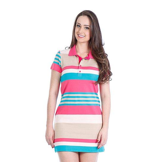 Vestido Listrado Malhas Carlan Polo Manga Curta - Compre Agora  e08d0fa0c488f