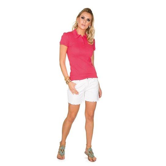 6e03964423 Camisa Polo Via Costeira em Algodão Feminina - Rosa - Compre Agora ...