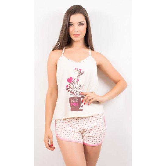 1e9fb1bb8 Pijama Baby Doll Estampado Short - Rosa - Compre Agora