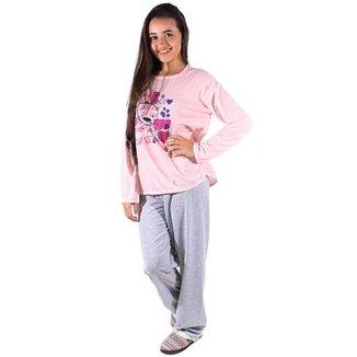 Pijama Linha Noite de Malha Longo Feminino 17b3d8a2492c6