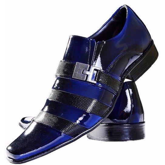 3b4b1a93f Sapato Social Gofer Couro Verniz - Preto+Azul