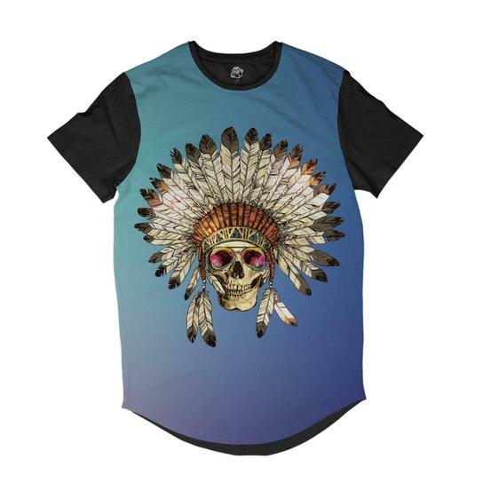 828516d90 Camiseta BSC Longline Caveira Indigena Cocar Sublimada Masculina -  Preto+Azul