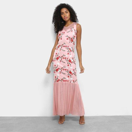 fb549bf160 Vestido Lemise Longo Tule Bordado - Rosa - Compre Agora