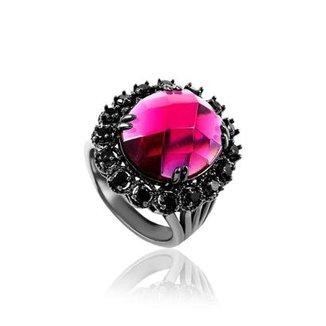 17e8ddab5ef Anel Giullia Ferraz Store Rosa Negro Cravejado Feminino