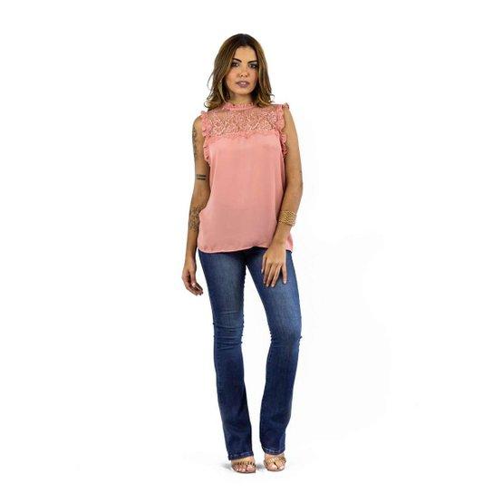 88bb1fa02d Blusa The Style Box Decote Renda Com Babados - Rosa - Compre Agora ...
