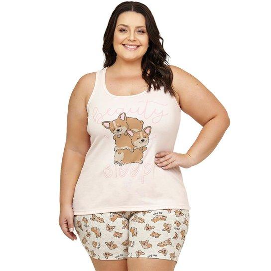 715d86786b Short Doll Regata Plus Size Luna Cuore - Rosa - Compre Agora