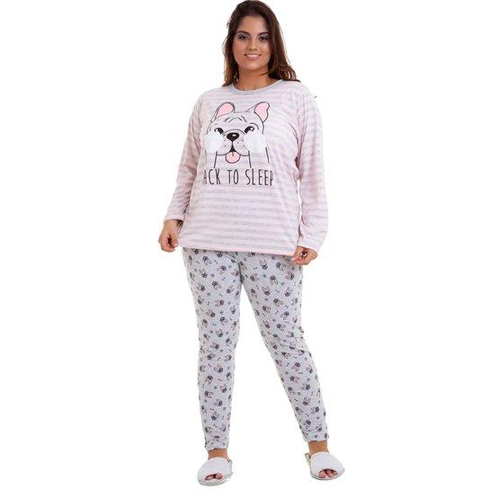 2cece4af64 Pijama Plus Size Feminino Luna Cuore - Rosa