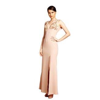 3e5ffe64d Vestido Longo Izadora Lima Brand em Crepe com Decote nas Costas Feminino