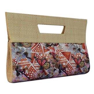 6f8160071 Bolsa Carteira de Mão Artestore em Palha de Buriti e Estampa Floral