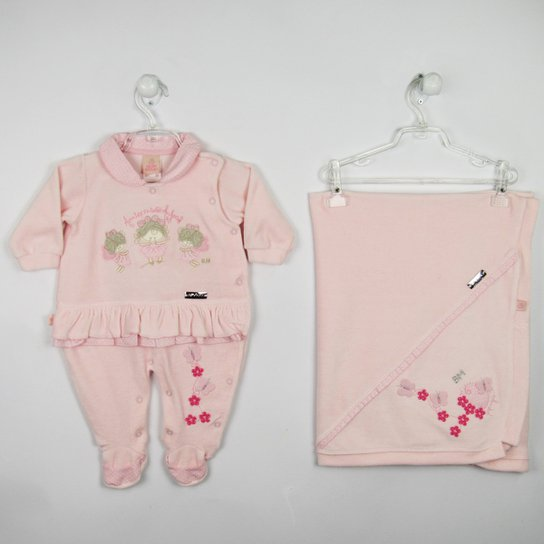 cbdb433a91 Saida de Maternidade Plush Bordada - Rosa - Compre Agora