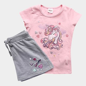 7cba9b2a578 Conjunto de Blusa + Shorts Infantil Elian Feminino