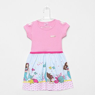 b62cc55aa Vestido Infantil For Girl Curto Evasê Estampa Sereia