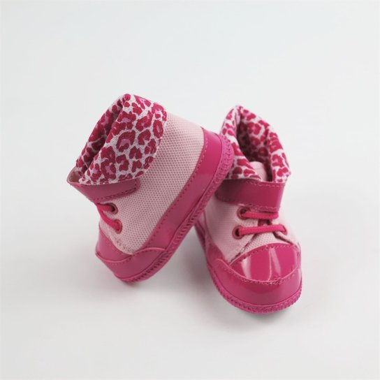 7e5ba2f004 Tênis Bebê Feminino Cano Alto Rosa Oncinha-G - Rosa