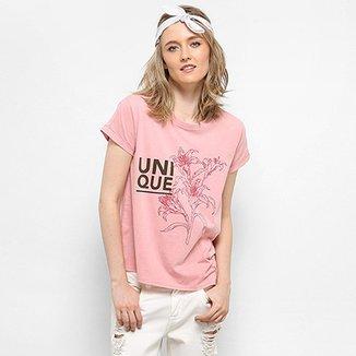 ef4c2296d2c Camiseta Drezzup Estampa Estonada Fenda Lateral Feminina